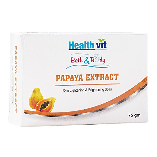 Healthvit Bath and Body Papaya Extract (Kojic Acid and Glutathione) Skin Whitening Soap, 75g (Pack of 2)