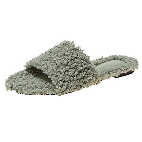 Hausschuhe Damen Winter Warm Plüsche Pantoffeln rutschfeste Flache Schuhe Open Toe Bequeme Home Slippers Indoor/Outdoor, KUDICO (Grün, 40)