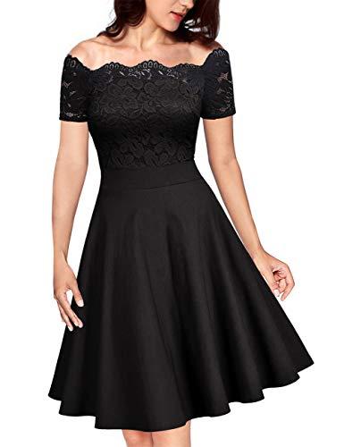 e 1950er Spitzen Cocktailkleid Brautjungfernkleider für Hochzeit Kurze Abendkleider Schwarz (Off Schulter) L/42-44 ()