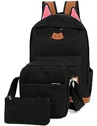 Moolecole Cute Cat Ear Students School Backpack Canvas Rucksack Shoulder Bag 3pcs Set Black