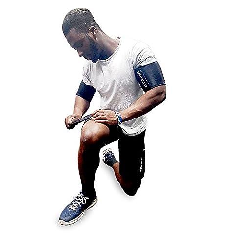 4 teilige verstellbare Arm- und Oberschenkel Schlankmacher-Wickel zum Abnehmen von COMPRESSX – Komplettes Formbander-Set zum Abnehmen und zum Formen – Kann fur das Gewichteheben, fur Crossfit, zum Boxen und fur Squats genutzt werden – Geeignet fur Damen und Herren (Klien)