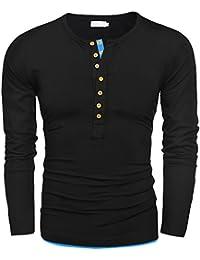 5b5b907f76 Amazon.it: maglia con bottoni - Nero / Uomo: Abbigliamento