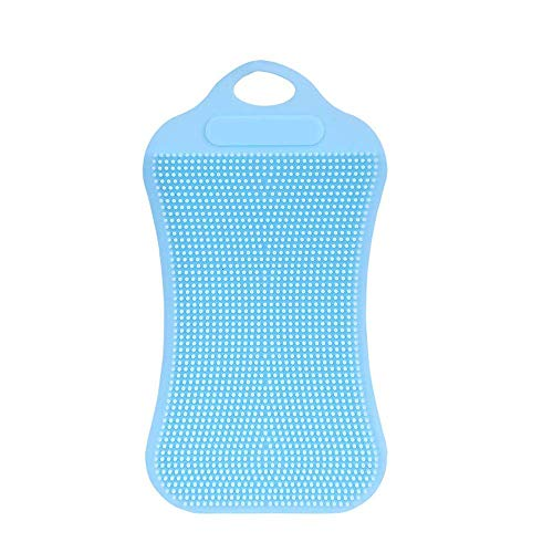EUTUOPU 1Pc Silicone Dish Washing Sponge Scrubber Kitchen Cleaning Antibacterial Tool (Sky Blue) (Flip-chart Tabs)
