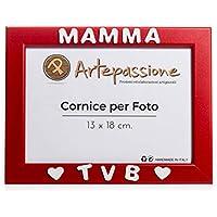"""Cornici Rossa per Foto in Legno 13x18 con la Scritta""""Mamma TVB"""" e Decorata con Cuoricini, da Appoggiare o Appendere. Ideale per Regalo e Ricordo."""