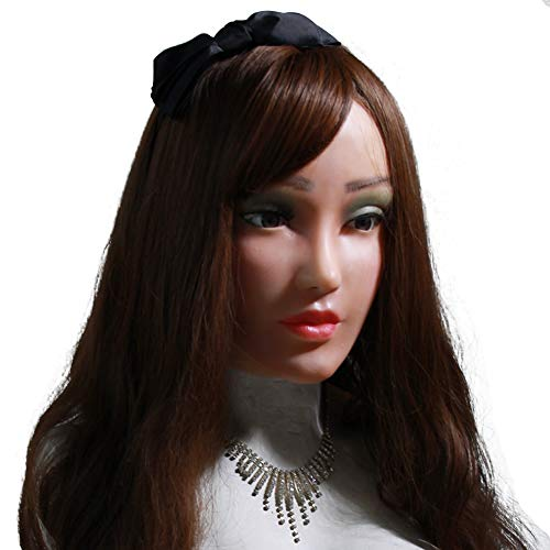 (FHSGG Realistische Silikon Weibliche Maske für Crossdresser Cosplay Maskerade Shemale Masken Handgefertigte Gesicht für Transgender Halloween Kostüme)