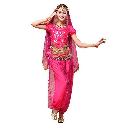 Bauchtanz Tribal Tanz Outfits Tanzkleidung Bauchtanz Kostüm Set Indischer Tanz Top & Paillette Bauchtanz Hose Münzen dark pink