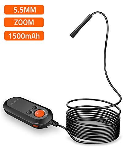 Depstech Endoscopio WIFI Wireless Telecamera Endoscopica Impermeabile Semirigido Lente Zoom Digitale 5,5MM, Fotocamera di Ispezione HD per Android, iPhone, Windows e Tablet, Nero, 5M