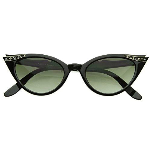 KISS Gafas de sol CAT EYE mod. PIN-UP CRYSTALS - vintage MUJER elegante de la moda extravagante - NEGRO