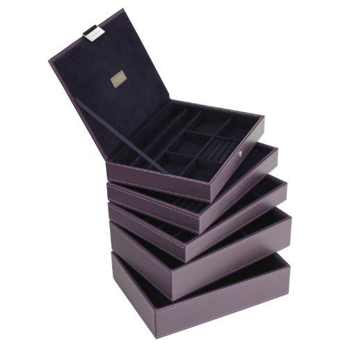 STACKERS by LC Designs Ensemble de 5 ⠀˜ à size⠀™-Violet-STACKER Lot de 5 Boîte à bijoux avec doublure en velours Violet