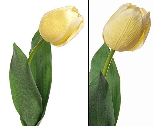 """Tulpen Kunstblumen """"Bonny"""" hellgelb und Gefühlsecht, 48cm – Kunstpflanze Kunstbaum künstliche Bäume Kunstbäume Gummibaum Kunstoffpflanzen Dekopflanzen Textilpflanzen"""