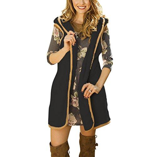 iShine Gilet Longue pour Femme Fille Manteau sans Manches Cardigan à Capuche Chaud Mode Caparaçon pour Printemps Automne Hiver Noir