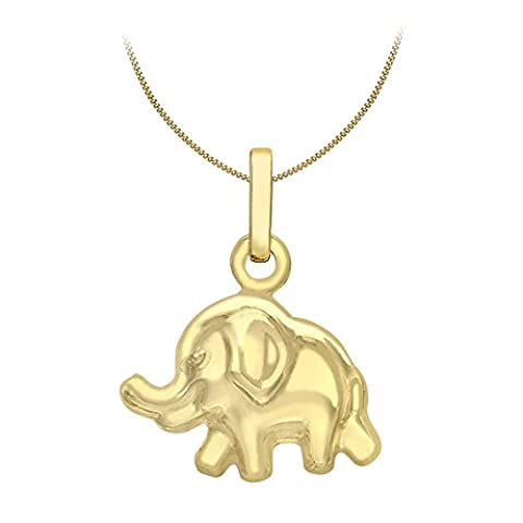 Carissima Gold 9ct Yellow Gold Elephant Pendant on Curb Chain Necklace of 46cm/18
