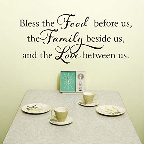 WWYJN Kitchen Bible Vinyl Sticker Quotes Bless The Food Before Us Table Decal Family Love Wall Sticker Waterproof Murals  77x45cm