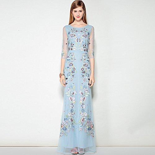 JIALELE Partei der Frauen arbeiten gehen, Sexy Street chic eine Linie Maxi Kleid, Floral bestickte Rundhals, 3/4-lange Ärmel, Blau, L (Eine Linie Der Arbeit Kleider Für Frauen)