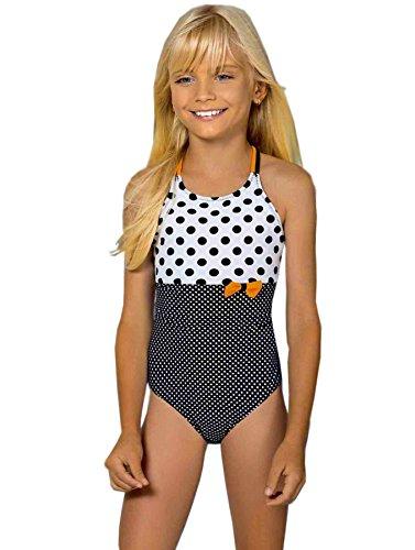 Lorin Mädchen Badeanzug Gr. 10-11 Jahre 152 cm, White Black Polka Dot (Dot Polka Mädchen Badeanzug)