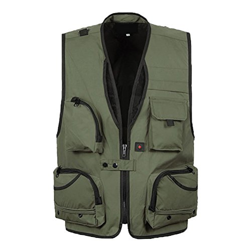 Zhuhaitf Draussen Casual Mens Camera Pocket Freizeit Vest for Director reporter Fisher Green