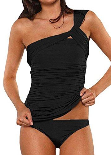 ASSKDAN Damen Drucken Neckholder Tankini Badeanzug Hot Frauen Streifen Rückenfrei Monokini Raffinerten Bademode (L, Schwarz)