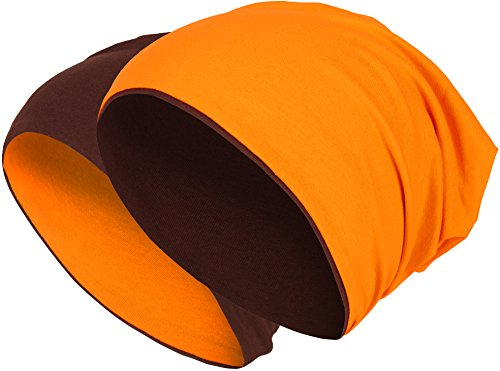 2 in 1 Wendemütze - Reversible Slouch Long Beanie Jersey Baumwolle elastisch Unisex Herren Damen Mütze Heather in 24 (8) (Dark Brown/Orange)
