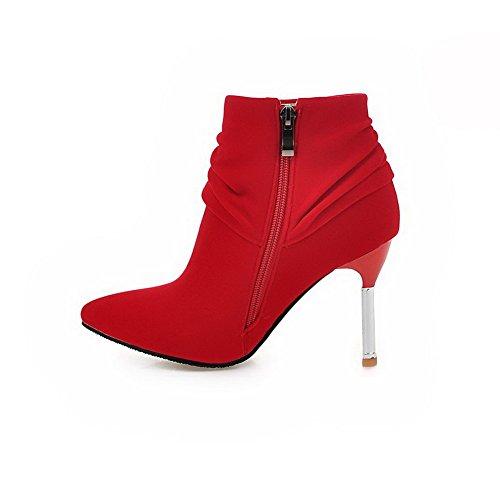 VogueZone009 Damen Stiletto Weiches Material Reißverschluss Niedrig-Spitze Stiefel, Rot, 41