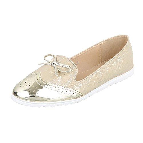 Ital-Design Slipper Damen-Schuhe Low-Top Moderne Halbschuhe Gold, Gr 37, J112-
