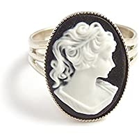 LunarraStar Black and white Victorian cameo ring - Adjustable silver gothic