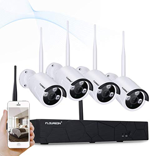 FLOUREON Überwachungkamera Set kabellos (4CH 1080P NVR Videorecorder + 4X 960P Überwachungskamera Außen Sicherheitskamera) Wasserdicht, Nachsicht P2P, H.264, Beweungsmelder -
