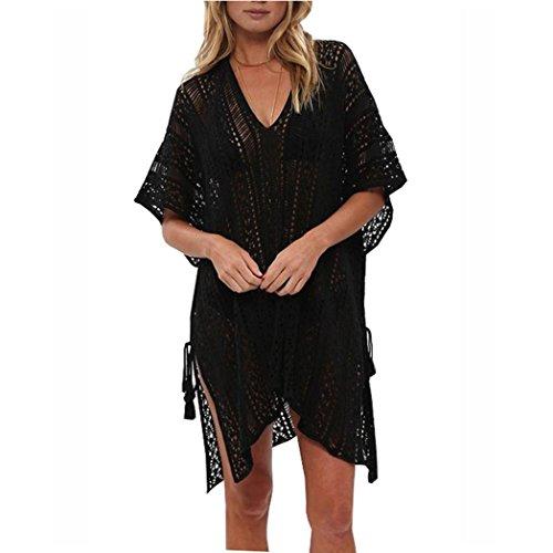 Kinder Badeanzug Up Cover (OverDose Frauen Baden Beach Cover Up Kleid Bikini Badeanzug Bademode Crochet Smock(Black,Freie Größe))