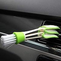Monllack Suministros de automóvil Cepillo de Limpieza de Salida de Aire de Aire Acondicionado Doble Limpieza del Panel de Instrumentos Interior Cepillo de ángel de Cabello Suave (Verde)