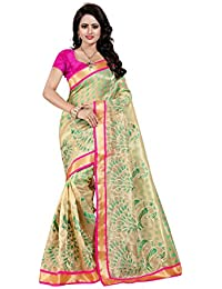SATYAM WEAVES WOMEN'S ETHNIC WEAR EMBROIDERY NET JARI GREEN COLOUR SAREE WITH EMBROIDERED BLOUSE PIECE.