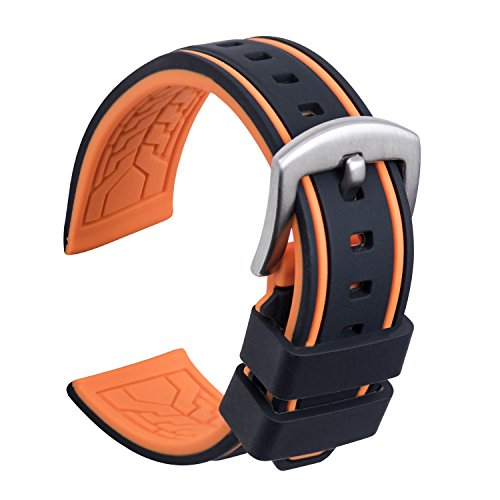 Ullchro Uhrenarmband Ersatzarmband Gummi Armbanduhr Wasserfest Bicolor - 20, 22, 24, 26mm Kautschuk Uhrenband mit Gebürstete Edelstahl-Wölbung Silber (20mm, Schwarz & Orange)
