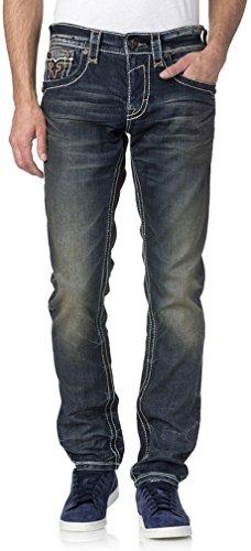Rock Revival Herren Tavin A5 Alt Unsmiling Jeans, 34, Denim