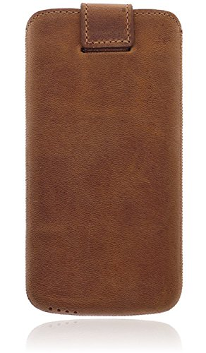 Burkley Apple iPhone 8 (4.7 Zoll) Premium Lederhülle | Handyhülle | Tasche | Schutzhülle | Handytasche | Ledertasche | Hülle | Sleeve | Cover | Case Etui mit Klettverschluss (Dunkel Braun) Cognac