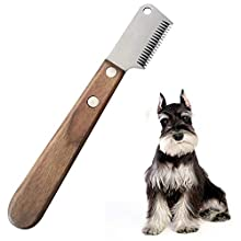Aidiyapet Dog Professional Stripping Knife, Pet Deshedding Tool Brush Pet Grooming Tool Ergonomic Wooden Handle (Grey)