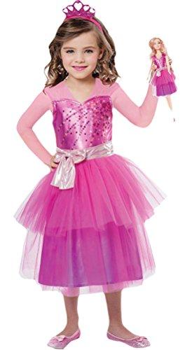 Karnevalsbud - Mädchen Karneval Kostüm Barbie Princess mit Puppenkleid , Pink, Größe 98-110, 3-5 Jahre (Damen Disney Princess Aurora Kostüme)