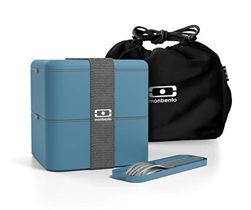 Monbento - Caja bento MB Square Denim con Borsa MB Pochette Negro y Cubiertos MB Pocket Denim