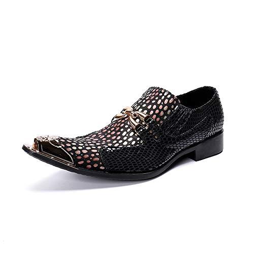 Rui Landed Herrenmode Oxford Casual Metall Peep-Toe Snakeskin Front Gold und Pink Dot Retro Spitzen Niedrige Formale Schuhe Nachtclub (Color : Gold, Größe : 39 EU) Front-peep-toe