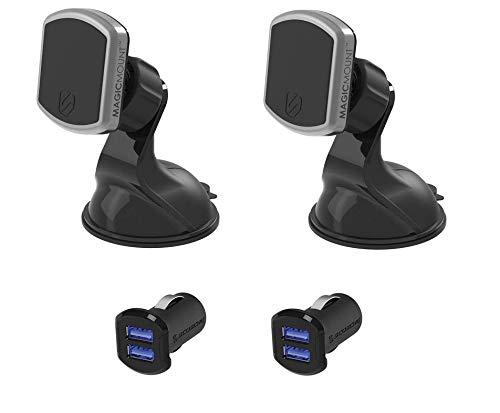 Scosche MagicMount Pro Pack für Smartphones & Tablets, Halterung mit starkem Magnetverschluss, 360° & Dual Ladestecker mit Glow Ports funktioniert mit jedem Gerät Scosche Dual Usb Port