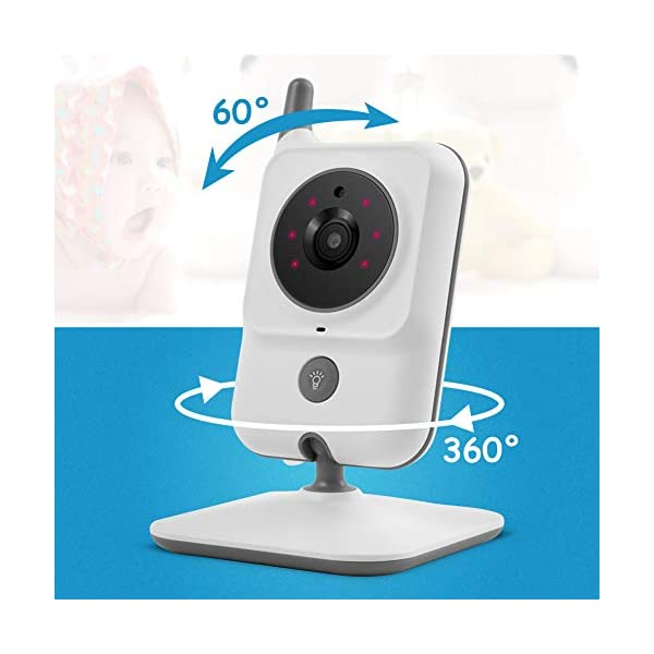 GHB Baby Monitor Video Baby Monitor with Camera 3.2 Inch Handheld Parent Unit Infrared Night Vision Room Temperature Display 2-Way Talk Baby Lullabies GHB Portable Parent Unit - with the wireless 3.2'' display, new parents can monitor their lovely baby clearly in the living room, kitchen or any place in the signal range Infrared Night Vision - you can keep eye on your baby at night in your bedroom and no need to go to the baby room, which avoids waking up your baby VOX Mode (power saving mode) - under VOX mode, if baby camera detects a sound over a certain threshold in the baby room, the video display will turn on automatically, and then will turn off when the baby room is silent to save the battery power 9
