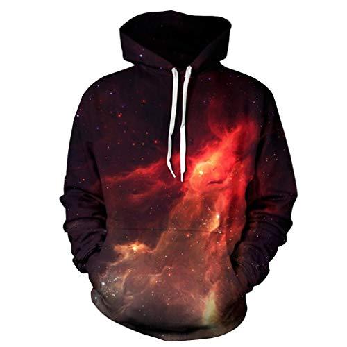 Kanpola Kapuzenpullover Herren Damen Sweatshirts 3D Digital Langarm Shirt Hoodie Hooded Pullover Sweat Oberteile Mantel Outwear Halloween (46, Schwarz)