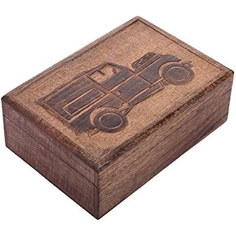 Store Indya, Sostenedor de madera de la baratija de la joyeria del recuerdo de la caja de almacenaje Organizador multifuncional hechas a mano en el pecho