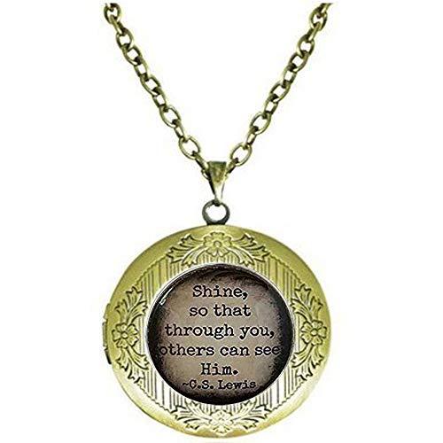 bab C.S. Lewis Halskette mit Glänzender Zitat Glas Anhänger Shine Your Light christliches Geschenk religiöse Geschenkidee Medaillon Halskette - Bibelzitat Anhänger - religiös