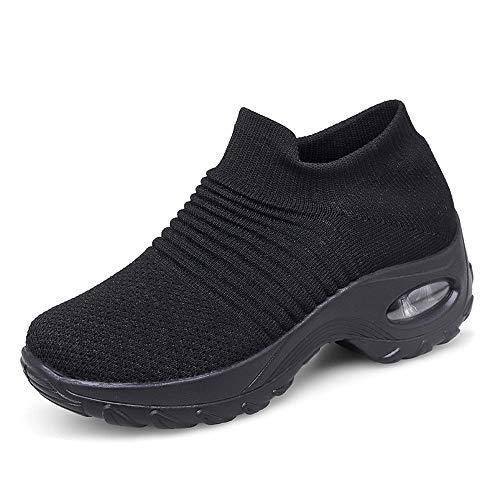 Zapatos Deporte Mujer Zapatillas Deportivas Correr Gimnasio Casual Zapatos para Caminar Mesh Running Transpirable Aumentar Más Altos Sneakers Negro Gris Morado Rojo 35-43 Negro 36