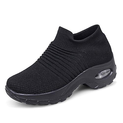 Sneakers Damen Sportschuhe Laufschuhe Bequem Turnschuhe Air Leichte Höhe Erhöhen Mesh Socks Slip On Outdoor Walking Schuhe Schwarz Grau Lila Rot Weiß 35-43 Schwarz 41