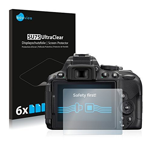 [6-Unidades] Savvies Protector Pantalla para Nikon D5300- Transparente