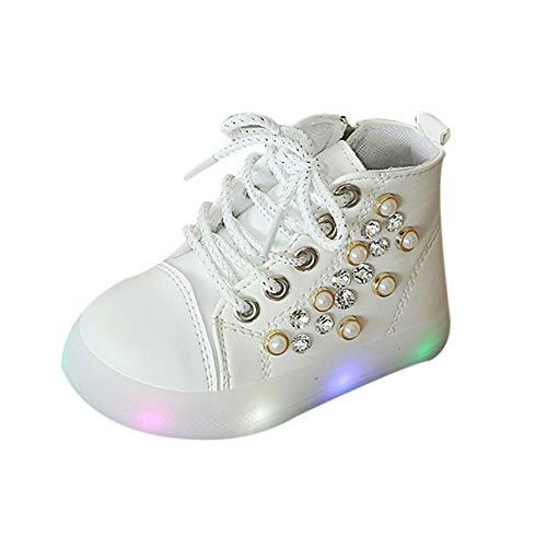 (SOMESUN Mädchen Süße Fliege LED Licht Sportschuhe Baby Prinzessin Modisch Wimpern Leuchtend Weich Leichtgewicht Schnürhalbschuhe Sneaker Freizeit Lederschuhe Laufschuhe)