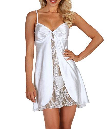 Erotisches Chemise Negligee in weiß mit String Tanga Dessous Kleid Nachtkleid aus Satin und Spitze L/XL