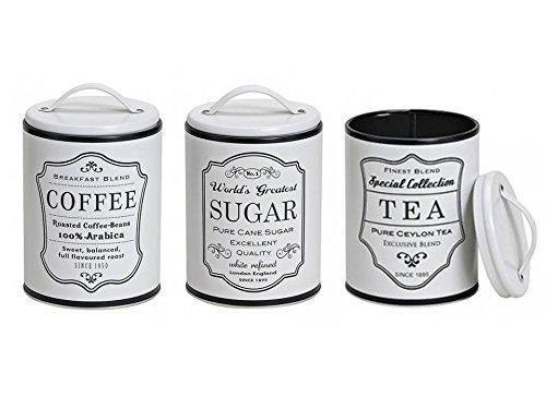 Vorratsdose Dose Set 3-tlg. TEA SUGAR COFFEE weiss Metall 10,5x14 cm