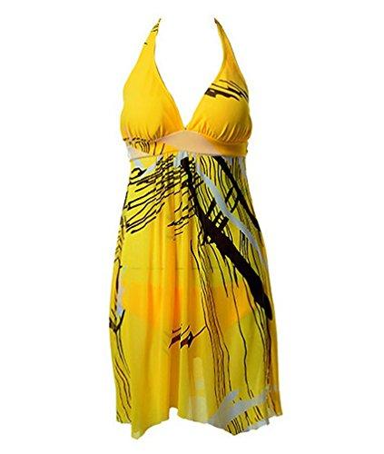 Baymate Costume Da Bagno Delle Plus Size Underwire Bikini Capestro Uno Pezzi Per Donna Giallo