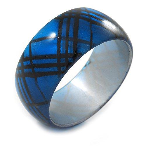 "Blau/Schwarz Acryl Armreif \""Tartan Muster Armband-20cm Länge"