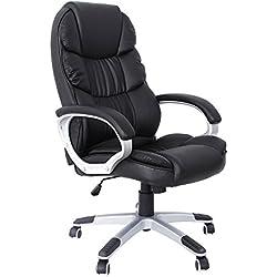 SONGMICS noir Chaise fauteuil de bureau Chaise pour ordinateur hauteur réglable PU OBG24B